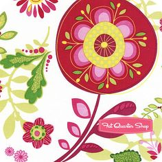 Meadow Melody White Large Floral Mix Yardage SKU# 68201-137 - Fat Quarter Shop
