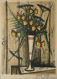 """Bernard BUFFET (1928-1999) """"Bouquet de fleurs"""" lithographie signée"""