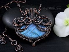 Victorian Inspired Wire Wrapped Blue Flash by MyWillowGems on Etsy