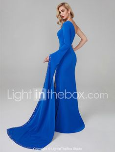 71daca84fd Mermaid   Trumpet One Shoulder Floor Length Spandex Celebrity Style  Cocktail Party   Prom   Formal Evening Dress with Beading   Crystals    Split Front by TS ...