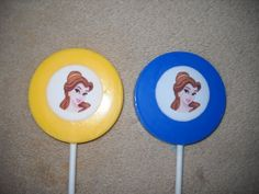 """1 chocolate edible decal 2 1/4"""" beauty and the beast belle lollipops   sapphirechocolates - Edibles on ArtFire"""