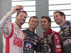 Earnhardt Jr takes a selfie of Kasey Kahne, Jeff Gordon & Jimmie Johnson at the 2014 Chase for the Sprint Cup in Chicago.
