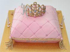 Chocolate royal princess pillow cake topped with an edible tiara