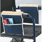 The Fleece Wheelchair Armrest Pouches are wheelchair armrest pads and side pouches designed for use by individuals with mobility or lower extremity disabilities or spinal cord injury and others who use wheelchairs. The pouches are made of washable denim and feature fleece armrest covers that provide comfort and protection to elbows and wrists.
