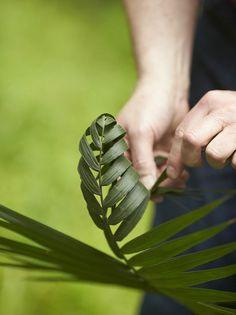 Foliage Art....Hand weaving palm leaves.