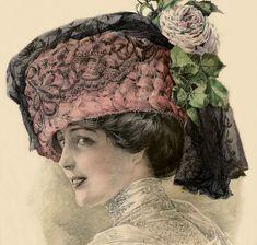 15 illustrations vintage femmes - Page 8 Parisienne Chic, Victorian Hats, Victorian Women, Moda Vintage, Vintage Art, French Fashion, Vintage Fashion, Hat Day, Creation Photo