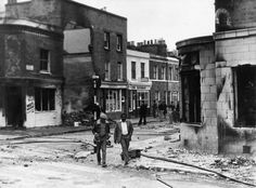 R is for Riots. This photograph taken in 1981 shows the aftermath of the Brixton uprising. The riots were set against the backdrop of poor social and economic conditions, such as unemployment and bad housing. (Ref: MS/6/10/1 [6])