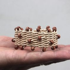 Korálkový, weaving bracelet, rattan weaving, nature, wood beads, woven, nature, natural