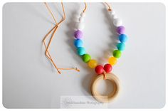 Silicone Teething Necklace - Safe for babies to chew, suck and love on - Rainbow Baby  https://www.etsy.com/shop/smilesunshinedesigns