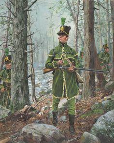 War of 1812 - U. Rifle Regiment 1812 (by Don Troiani) American Revolutionary War, American War, American Soldiers, American History, Military Art, Military History, Military Uniforms, Independence War, War Of 1812