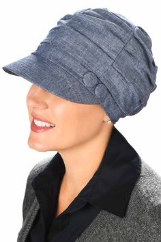 Gathered Button Newsboy Hats for Cancer Patients
