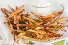 Oven baked garlic fries with garlic aioli