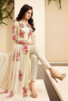 White Floral Embroidered Pant Style Anarkali