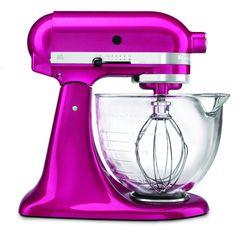 Hot pink kitchenaid mixer w/glass bowl- OH, how I really, REALLY want this mixer <3
