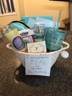 I wanted to TEAL you Happy Birthday – Gift Basket Ideas Birthday Gifts For Bestfriends, Birthday Presents For Friends, Bestie Gifts, Cute Birthday Gift, Happy Birthday Gifts, Birthday Gifts For Teens, Friend Birthday Gifts, Gifts For Friends, 25th Birthday