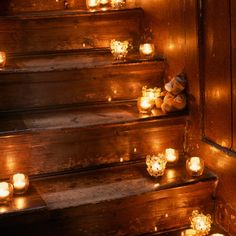 Candles on the stairs. Romantic candles and wedding ideas, get inspired at www.scentedcandleshop.com.