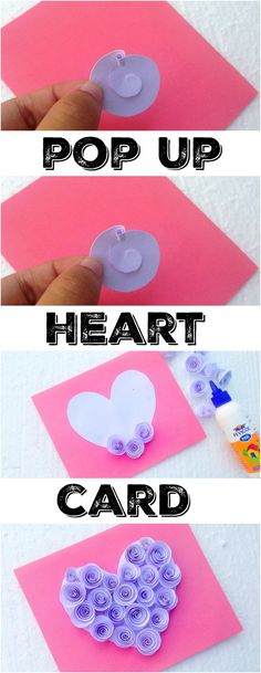 This is how to make a pretty Valentine's Day pop up heart card that is perfect for Mother's Day or just a fun craft for kids too. Making paper flowers is simple using this technique and you can create any shape you like to make a fun pop up card for a loved one or friend. #popup #card #heart #valentinesday #craft #flower #paper  via @thetypicalmom