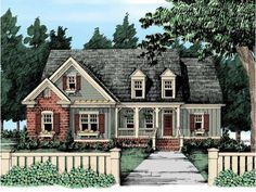 *******Best so far.  Very traditional exterior.  1656 sf 1 story with 717+ sf optional upstairs above.  3 BR / 2-3 bath / 2-3 car side load garage.  54' wide x 54' deep.