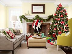 [Holiday Decorating Ideas - Country Christmas Decorations - Country Living]  LOVE the fireplace!