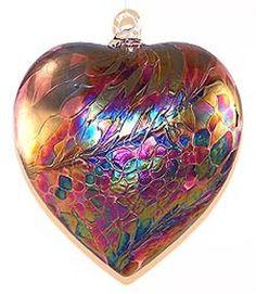 "EUROPEAN ART GLASS ABALONE HEART ""RUBY WINE RED"" KUGEL ORNAMENT Friendship Ball"