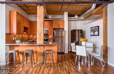 Feather Factory Lofts-2154 Dundas St W #107 | One-of-a-kind bright large authentic 1070 sf 2 bedroom SE corner loft with wrap around windows! | More info here: torontolofts.ca/feather-factory-lofts-lofts-for-sale/2154-dundas-st-w-107-2 Exposed Brick Walls, Post And Beam, Wood Ceilings, Lofts, Beams, Feather, Corner, Bright, Windows