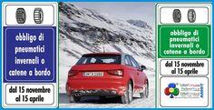 15 novembre, obbligo di pneumatici da neve o catene a bordo
