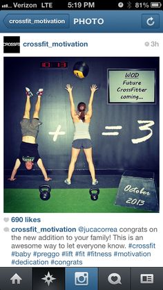 Crossfit baby announcement-that is awesome!! http://www.knotheory.com/ #crossfit #motivation