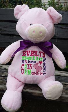 Personalized baby gift personalized plush birth announcement best personalized baby gift stuffed plush pig stuffed animal pig keepsake embroider buddy best baby gift ever negle Images