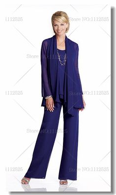 Chiffon three piece mother of the bride pants suits  Plus size