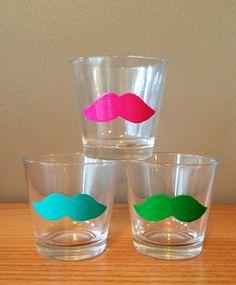 Mustache Shot Glasses (2). $9.00, via Etsy. (glasses would be better for Girly)