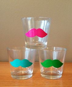Mustache Shot Glasses (2). $9.00, via Etsy. (glasses would be better for Girly)
