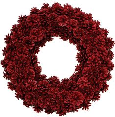 Red Pinecone Wreath This hand made pinecone wreath is finished with a highly durable coating and then sealed to endure the elements. It has the appearance as if it was coated in glass. With correct ca