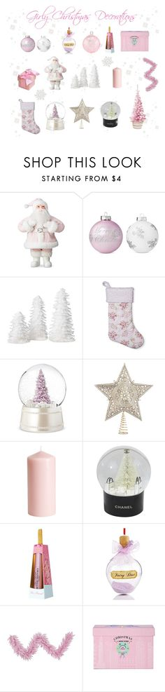 """""""♡ Girly Christmas Decorations #2 ♡"""" by kaylalovesowls ❤ liked on Polyvore featuring interior, interiors, interior design, home, home decor, interior decorating, Shabby Chic, Kurt Adler, H&M and Chanel"""