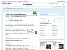 All's Well for Stem Cells 6th - 12th Grade Lesson Plan | Lesson Planet