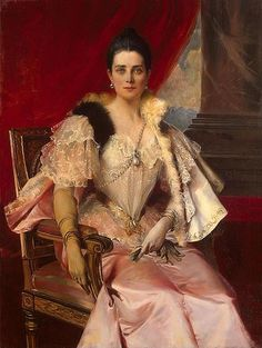 Princess Zinaida Nikolaevna Yusupova. Following the Russian Revolution she and her husband lived in Rome. After his death she moved to Paris, dying there in 1939. Portrait by François Flameng in 1894.