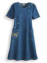 Embroidered Denim Dress   Blair