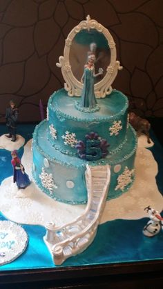 "Based on the song,""Let it Go ""…from the movie Frozen.This is my design that I did for another child before this.The first time I made this design was on a fondant finished cake was much easier. This time round ,I finished it in buttercream …I saw..."