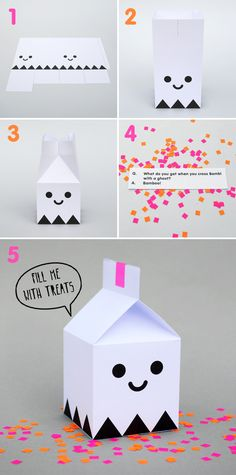 Halloween Projects Free Halloween printable ghost treat boxes from Minieco - so fun!Free Halloween printable ghost treat boxes from Minieco - so fun! Diy Halloween, Halloween Treat Boxes, Halloween Paper Crafts, Manualidades Halloween, Halloween Printable, Origami, Papier Diy, Printable Box, Free Printables