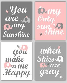 Art for Girls Room Pink and Gray Nursery Decor Prints You Are My Sunshine Elephant and leaf - 8x10 - baby shower gift, for boy or girl on Etsy, $55.00
