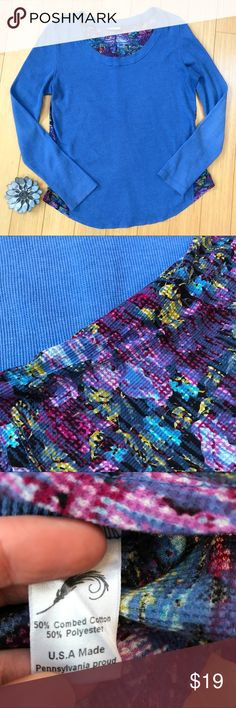 FEATHER Clothing blue purple print thermal shirt L Really beautiful blue and purple long sleeve thermal waffle weave shirt, by Feather Clothing, size large. Made in the USA. Perfect condition. Bust measures 21 inches across, length 27 inches, sleeve 25 inches. A really fun and comfortable shirt! Feather Clothing Tops Tees - Long Sleeve
