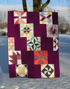 """Really fun, different setting for classic blocks! The plum """"background"""" is perfect and distinctive. :) Vintage Quilt Revival Blog Hop: The Big Finale - Freshly Pieced"""