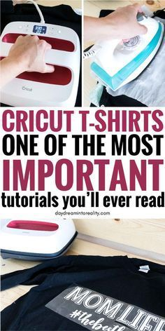 How to make T-Shirts with your Cricut Using Iron-On - - Hi Daydreamer! Today you will learn, from start to finish, how to make custom T-shirts. Circuit Crafts, Circuit Projects, Vinyl Projects, Cricut Vinyl, Cricut Craft Room, Cricut Air, K Store, How To Use Cricut, Cricut Help