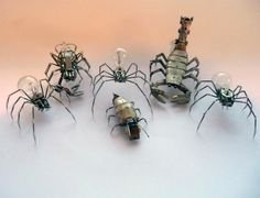 Mechanical Arthropods and Insects Made from Watch Parts and Light Bulbs