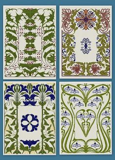 12 Art Nouveau Floral Patterns cross stitch pdfs door Whoopicat