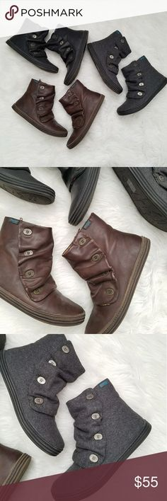 Blowfish Boot Bundle (3 pair) size 7.5 3 pair of hardly worn blowfish boots. Brown, black, and Gray! Cute buttons on outside and inner ankle zippers. Great deal!  BUNDLE your likes and shoot me and OFFER for best deals Blowfish Shoes Ankle Boots & Booties