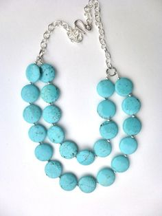 Blue Howlite Turquoise Multistrand Necklace, Silver. Statement Jewelry. Double Layered. Blue Turquoi on Luulla