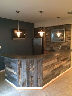 Weathered Wood Stikwood peel and stik wood wall planking - I would whitewash it . Give it a French country feel - Man CaveStikwood peel and stik wood wall planking - I would whitewash it . Give it a French country feel - Man Cave Bar Pallet, Pallet Wood, Pallet Ideas, Diy Wood, Wooden Pallets, Basement Remodeling, Basement Ideas, Remodeling Ideas, Cozy Basement