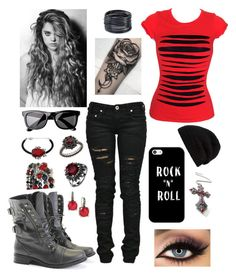 """""""gothic"""" by renee-love ❤ liked on Polyvore featuring Religion Clothing, Casetify, tarte, Denim of Virtue, Rick Owens, Rocio, ABS by Allen Schwartz, H&M, Stephen Dweck and Carla Amorim"""