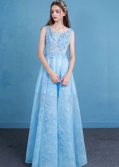 Ericdress A-Line Square Appliques Beading Floor-Length Evening Dress USD 18a5f16a37357