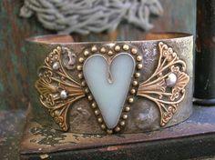 Winged heart bracelet - Love has Wings - cuff bracelet boho jewelry, baby sky blue fantasy fairy renaissance soldered jewelry bohemian